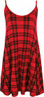New Womens Strappy Sleeveless Tartan Print Top Ladies Checked Swing Top 8-14