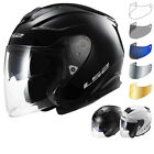 LS2 OF521.10 Infinity Solid Open Face Motorcycle Helmet & Free Visor Jet Scooter