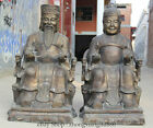 "38"" Larger Chinese Bronze Folk Ru Yi Land grandma granddad grandpa Statue Pair L"