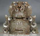 Old China White Jade inlay Silver Bird Head empress pileum Crown phoenix coronet