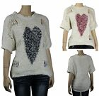 NWT Stunning Bubble & Fur Destroy Front Sweater Sexy Hi-Low Style Hart image Top