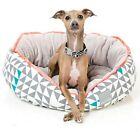 FuzzYard Tipping Point Grey Triangles Neon Trim Reversible Dog Bed
