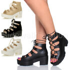 WOMENS LADIES CHUNKY MID HEEL PLATFORM LACE UP CUT OUT GRUNGE SANDALS BOOTS SIZE