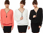 New Womens Chiffon Batwing Lined Insert Sheer Zip V Neck Long Sleeve Ladies Top