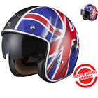 Black Classic British Open Face Motorcycle Scooter Helmet Flag Inner Sun Visor