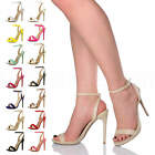 Womens high heel platform ladies strappy party evening buckle sandals shoes size