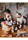 Mischievous Kittens by C. Reichert (Art Print of Vintage Art)