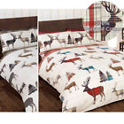 Scottish Highland Tartan Stag Duvet Cover Set in 100% Brushed Cotton Flannelette