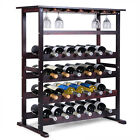 New 24 Bottle Wood Wine Rack Holder Storage Shelf Display w/ Glass Hanger