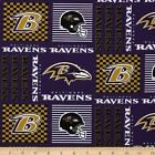 """100% Cotton Fabric Pre Cut Baltimore Ravens 58"""" Wide NFL Licensed Sold BTY"""
