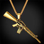 M16A2 Rifle 316L Stainless Steel Gun Pendant Necklace Gold Tone Punk Jewelry