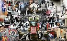 Banksy Montage Collage Mix Various WALL ART CANVAS FRAMED OR POSTER PRINT