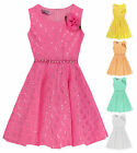 Girls Lace Sleeveless Party Dress New Kids Pretty Bridesmaid Dresses 2-10 Years