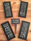 EAST OF INDIA DISTRESSED FINISH LONG BLACK MESSAGE PLAQUES LOVE FRIENDSHIP