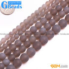 "Natural Stone Gray Agate Frost Matte Round Beads Free Shipping 15"" 6mm 8mm 10mm"