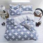 Cotton Blend Cross Single Double King Size Bed Pillowcase Quilt Duvet Cover Set