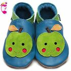 Girls Boys Luxury Leather Soft Sole Baby Shoes - Apple Cheeks - Inch Blue