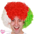 WHITE RED GREEN AFRO WIG WELSH FLAG EURO FOOTBALL RUGBY SUPPORTER FANCY DRESS