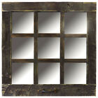 Reclaimed Barn Wood 9-Pane Window Mirror Rustic 24x24 Mirror (Many Colors!)