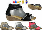 GIRLS WOMENS LADIES STRAPPY GLADIATOR FLOWER DAIMENTE ZIP UP WEDGE SANDALS SIZE