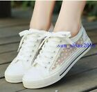 Womens Fashion Mesh Breathable Sneakers Canvas Lace Up Flat Shoes Plimsolls Size