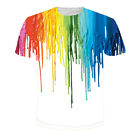 C8 US New Mens Womens 3D Print Tee T-Shirt Rainbow Oil Painting Summer Tees