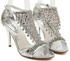 Silver Gold Diamond High Heel Wedding Party Sandal Womens Gladiator Strap Shoes