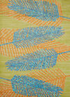 Blue Canopy Leaves Stems Branches Contemporary Area Rug Nature Print 543-60763