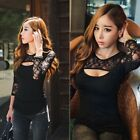 2015 Black SEXY Women Long Sleeve Lace Chiffon Blouse Long Sleeve T Shirt Tops