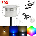 50Pcs 45mm 12V1W Outdoor Path Stair Garden Recessed Inground LED Deck Lights Kit