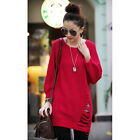 Women Round Neck Knitted Pullover Jumpers Casual Loose Knitwear Sweater Top