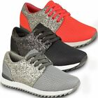 Womens Ladies Sparkly Glitter Fashion Trainers Sneakers Sports Casual Pumps Size