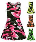 Girls Neon Camouflage Skater Dress New Kids Sleeveless Camo Dresses 7-13 Years