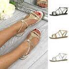 Womens ladies flat embellished diamante sparkly strappy t-bar sandals shoes size