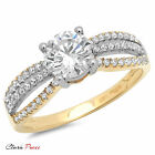 1.3CT Round Cut Sim halo Engagement Ring Bridal band Multi Sterling Silver RP