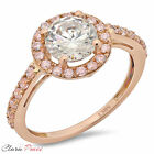 2.5 CT A+ CZ Engagement Ring Round Cut Halo Rose  Sterling Silver Bridal band GP