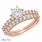 3.20 CT Sim Engagement Ring Bridal band set  Round Cut Rose Sterling Silver GF