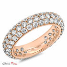 2.55ct A+ CZ pave set Wedding Engagement Band Ring Rose Sterling Silver GF