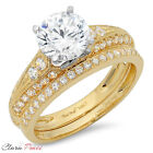 2.32 CT Round Cut AAAAA CZ Engagement Bridal Ring band set Multi 925 Silver