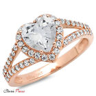 1.85CT Heart Cut A+ CZ Solitaire Engagement Wedding Ring Rose Sterling Silver RP