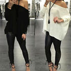 New Women Sexy Off Shoulder Long Sleeve Loose T shirt Tees Oversized Top Blouse