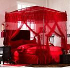 Red 4 Post Arched Princess Luxury Lace Bed Canopy Mosquito Net With Bracket