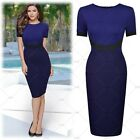 Women's Elegant Cocktail Party Bussiness Contrast Bodycon Stretch Pencil Dress