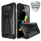 For LG G Stylo 2 / G Stylus 2 Armor Shockproof Case Stand +Tempered Glass Screen