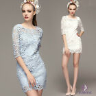 2016 new Lace Pierced Beading Nail Drill Package hip Slim half sleeve Dress