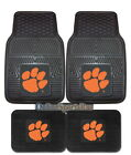 Clemson Tigers Car Mats 4 Pc Front & Rear Heavy Duty Vinyl