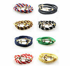 Men Rope  Multilayer Handmade  Leather  Women Bangle Wristband  Bracelet Anchor