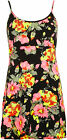 Womens Crepe Floral Flower Print Short Strappy Sleeveless Ladies Mini Dress 8-14