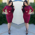Sexy Women Long Sleeve Bodycon Evening Party Cocktail Club Dress S M L XL XXL