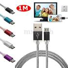 1M Braided Micro USB Sync Data Charger Charging Cable Cord For Android Phone Tab